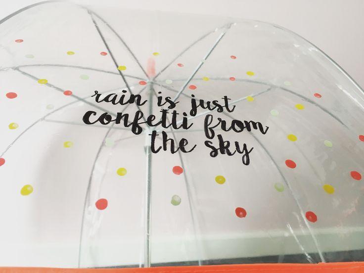 Paraplu gepimpt met watervaste stift en nagellak
