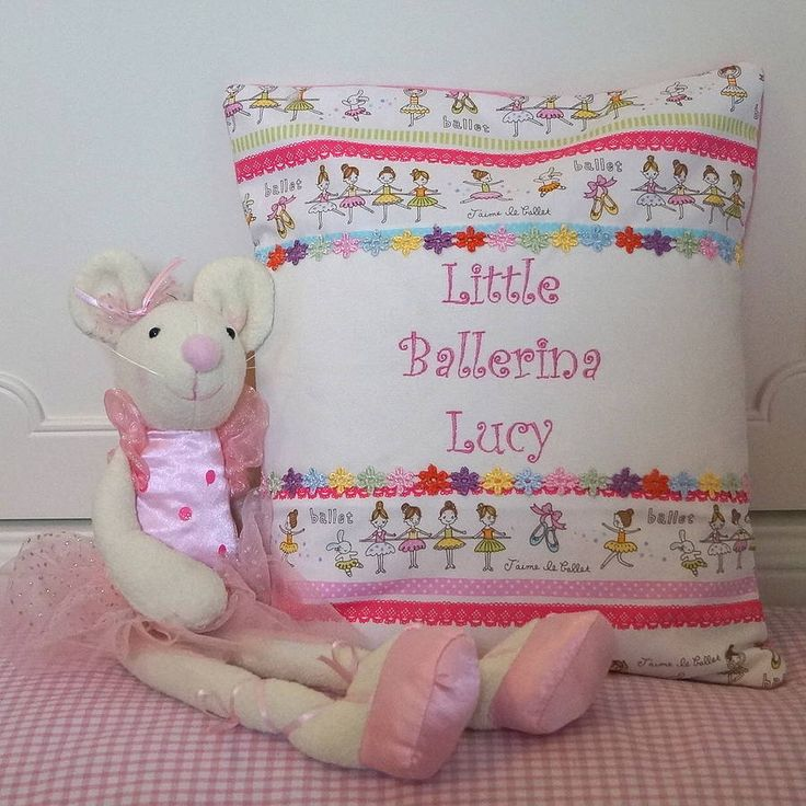 Personalised 'Little Ballerina' cushion and soft toy ballerina mouse.