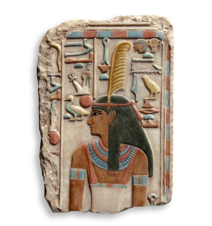 Relieve de Diosa Maat | Policromia egipcia | Diosa de la justicia y la verdad