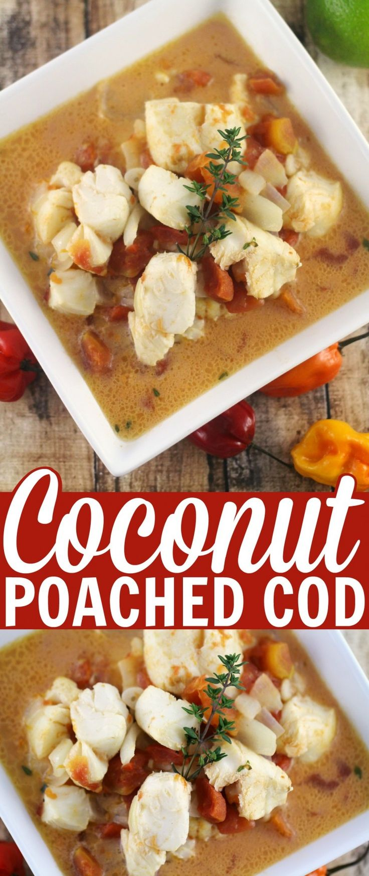 """This coconut poached cod is inspired by Jamaican """"Rundown"""" - Thai Kitchen Coconut Milk makes this recipe quick and easy-to-make."""