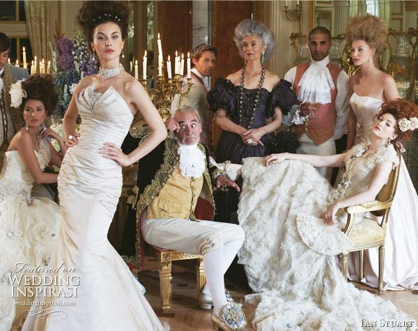 Marie Antoinette inspired bridal photo shoot for Ian Stuart 2011 wedding gowns -   Sydney (standing, foreground) and Lucrezia (seated with fan)
