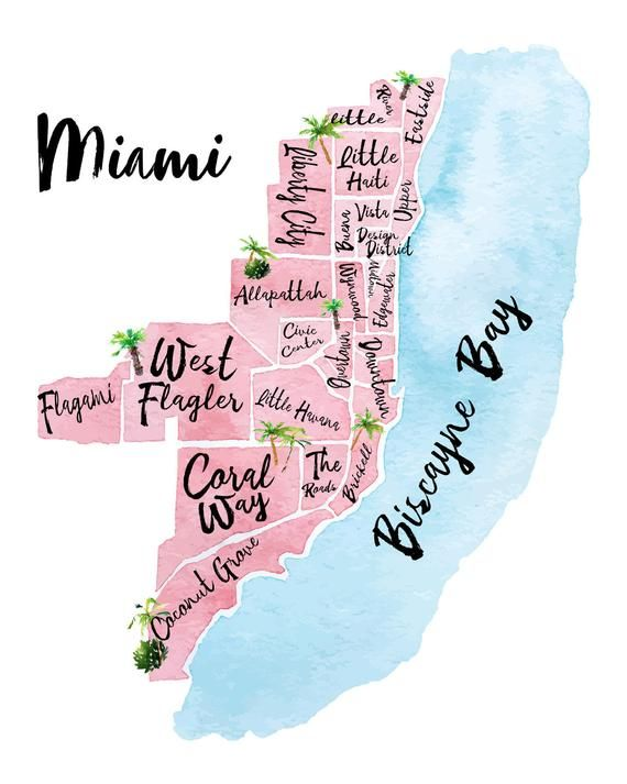 Illustrated Map Of Miami Fl Watercolor Print In 2020 Miami Map