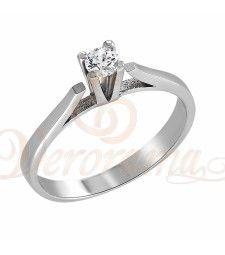 Μονόπετρo δαχτυλίδι Κ18 λευκόχρυσο με διαμάντι κοπής brilliant - MBR_010