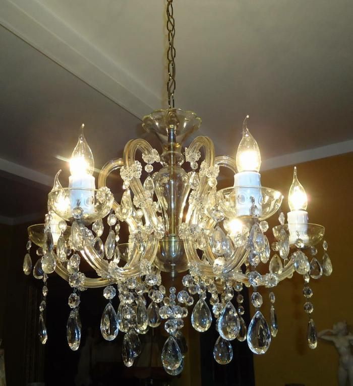 Antique 6-light Marie Therese crystal chandelier
