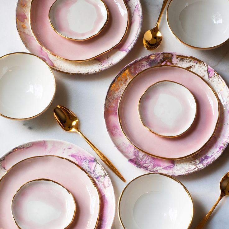 suite-one-studio-and-sascha-brastoff Pink, gold trim, water color clay plates