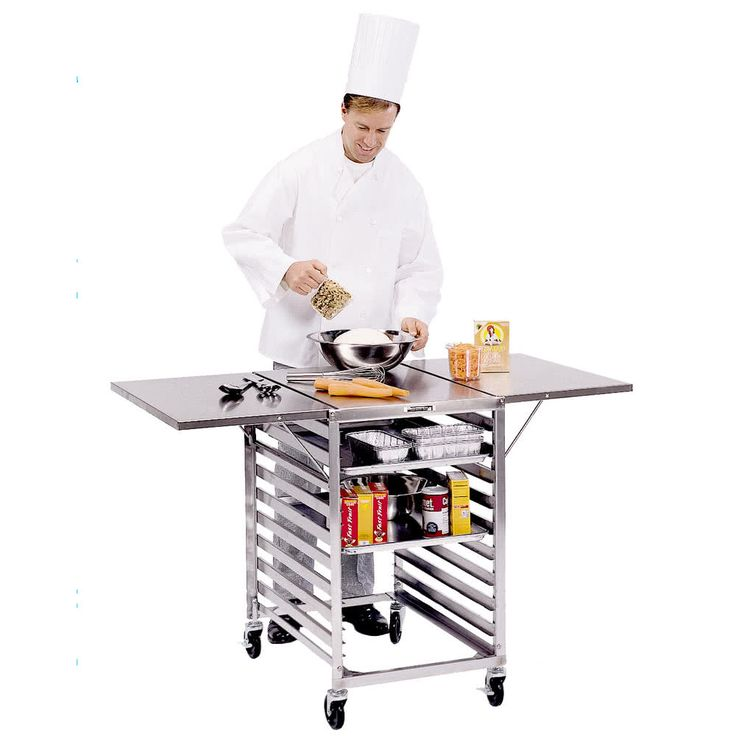 """Lakeside 110 Stainless Steel Table with Wings and Sheet Pan Storage - 52 3/4"""" x 29 1/4"""" x 35"""""""