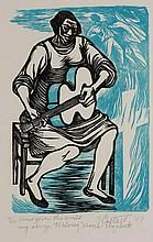 Elizabeth Catlett (American 1915-2012), I Have Given the World My Songs, Linocut in color