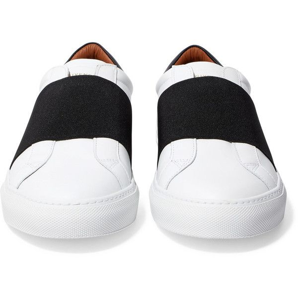 Givenchy Elastic-trimmed leather sneakers ($595) ❤ liked on Polyvore featuring shoes, sneakers, leather sneakers, leather shoes, white shoes, white slip on sneakers and white slip on shoes