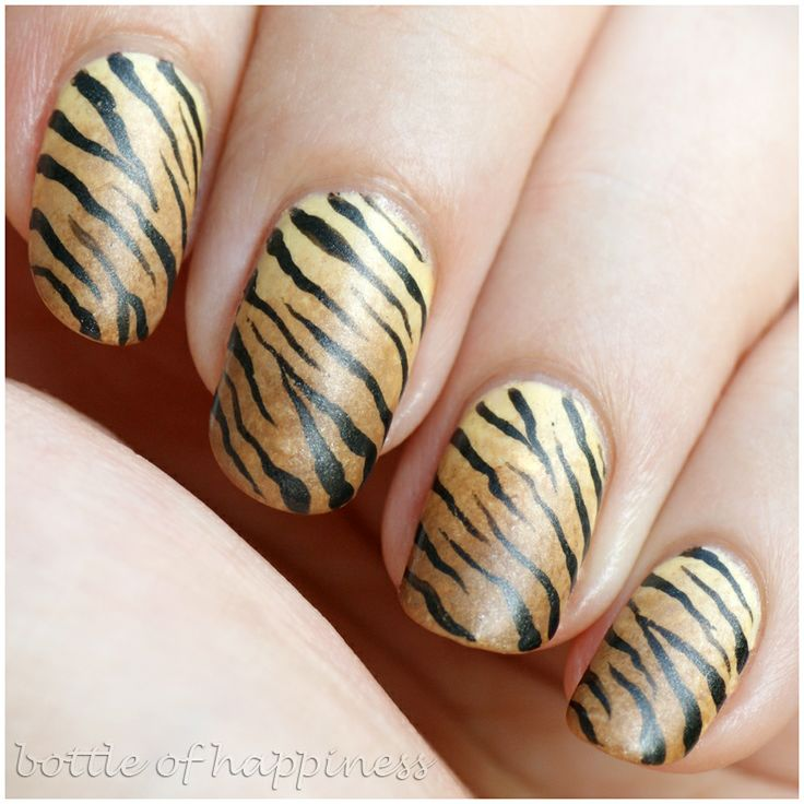 bottle of happiness - brown and tan tiger stripes nail art