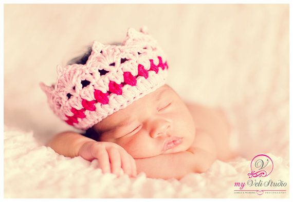 Lace Crochet  Pink Crown for dolls and newborn. by tatocka on Etsy, $12.00