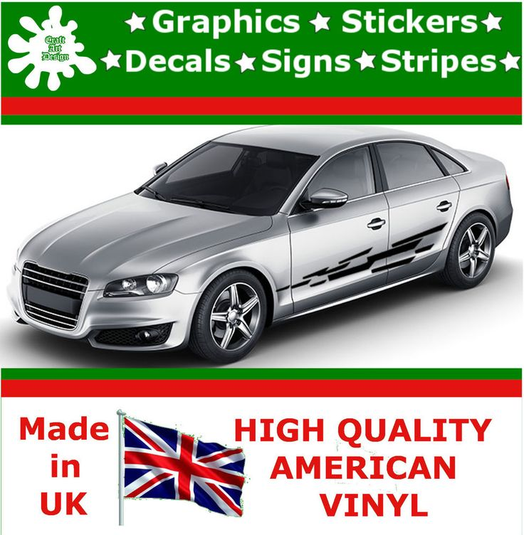 """10"""" High Car Side Stripes Graphic Decal Vinyl Stickers Van Auto Rally Race F1_66"""