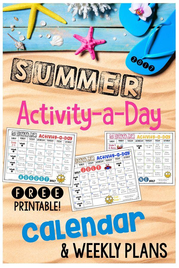 Summer - Activity a Day & FREE Calendars 2017