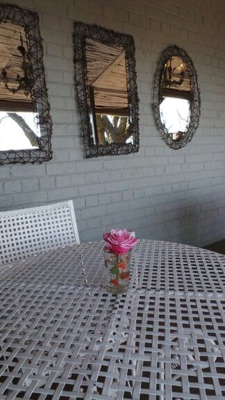 Mirrors with recycled frames / beautiful veranda setting at Zau Spa
