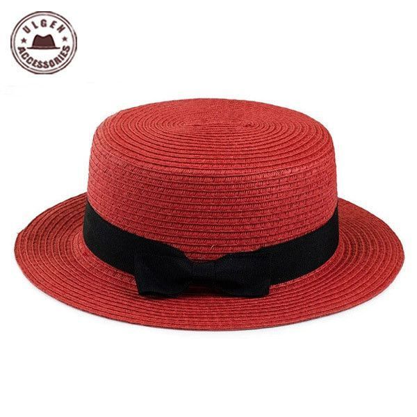 English Small Bow-Knot Women s Straw Hats  HatsForWomenBoater ... 624126cfee1
