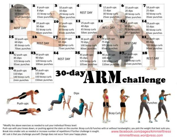 30 day legs challenge calendar | 30 Day Arm Challenge: Push-Ups, Tricep Dips, Bicep Curls and Punches