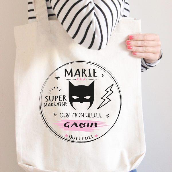 """sac tote bag personnalisé """"super marraine"""" Création le monde de Bibou"""