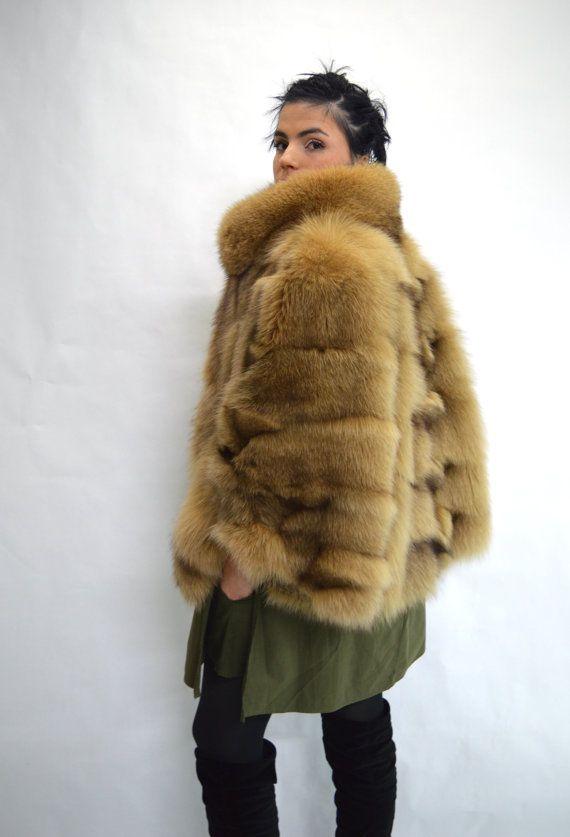 Real fur cape camel fox fur jacket genuine quality fox by BeFur