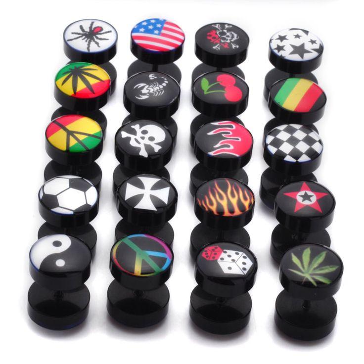2Pcs/Lot UV Fake Ear Plugs Body Jewelry Ear Expander Flesh Tunnel Barbell Earrings 20 Desins 6mm Free Shipping