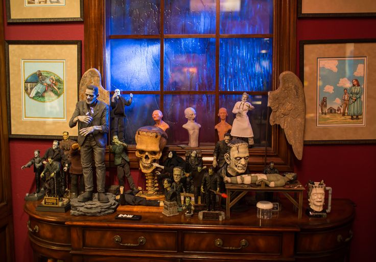 The director of fantasy and horror films keeps his collection of books, gory props and mannequins where he can see, and be inspired by, them.
