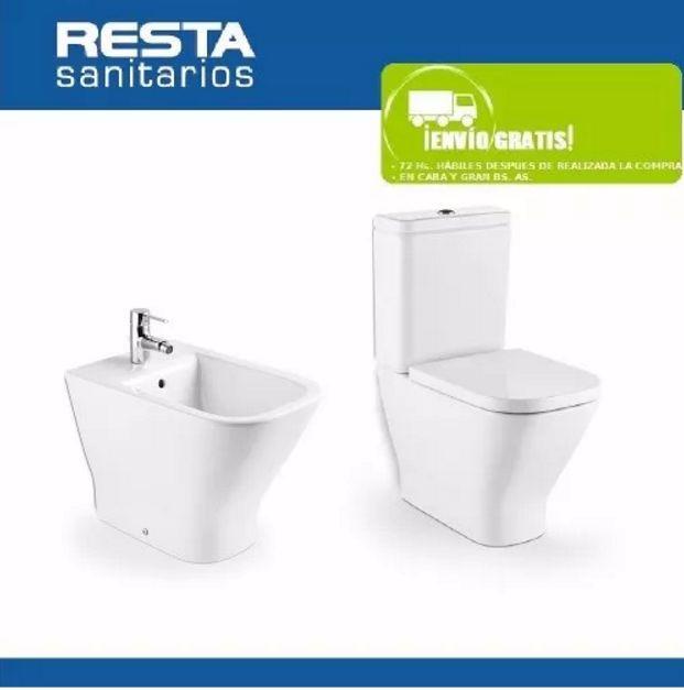Inodoro Largo Deposito Bidet Roca The Gap Tapa Asiento Amortiguado juego de baño sanitario