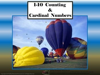 Price $4.00 Hot Air Balloons:Counting and Cardinal Numbers  provides teacher's directions, physical activities, and link to sound cue. Hot Air Balloons: Counting and Cardinal Numbers activities can be completed as a whole group or small group with the instructor using a SmartBoard, white board and adobe reader, projector or document camera as learners easily follow along.This lesson is aligned to Common Core State Standards.K.CC.A.3Write numbers from 0 to 20.