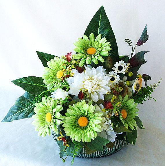 Green cream silk gerbera daisy bird nest by artsandcreations