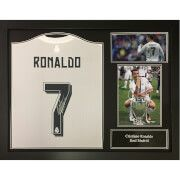 #All Star Signings Cristiano Ronaldo 2016 Signed and Framed Real #Here is a replica Real Madrid shirt from the 2015/16 season hand signed by Ronaldo with a certificate of authenticty and photo proof inserted into it.It is framed in a superb style to enhance its appearance and is ready to hang.