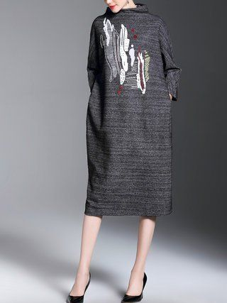 Black Stand Collar Shift Embroidered 3/4 Sleeve Sweater Dress