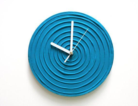 #blue #interior #art #design #wallclock  BLUE WALL CLOCK Blue Clock Blue Home Decor Blue Wall by PilipArt