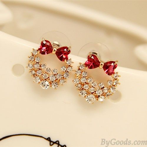 Stylish Silver Needle Lolita Crystal Bow Shiny Anadem Diamond Earrings Studs only $16.99 in ByGoods.com!