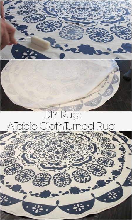 An easy way to turn a table cloth in to a rug: A DIY Anthropologie rug. Dream Book Design