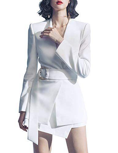 486cfabc88 Sunlen V-Neck White Mini OL Elegant Outfits Blazer Dresses 2 Piece Sets for  Women SL1BH5762
