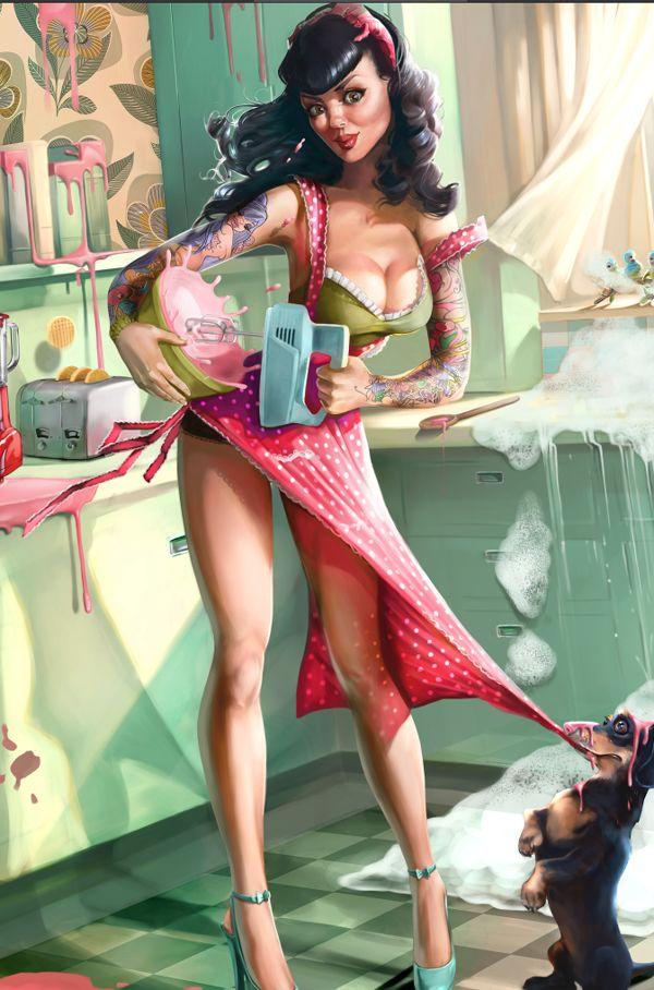 Kitchen Sync by Caroline Vos, via Behance pin up, tattoo, dog