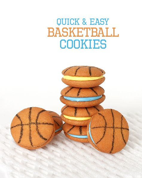 Basketball cookies...nilla wafers and edible ink marker!
