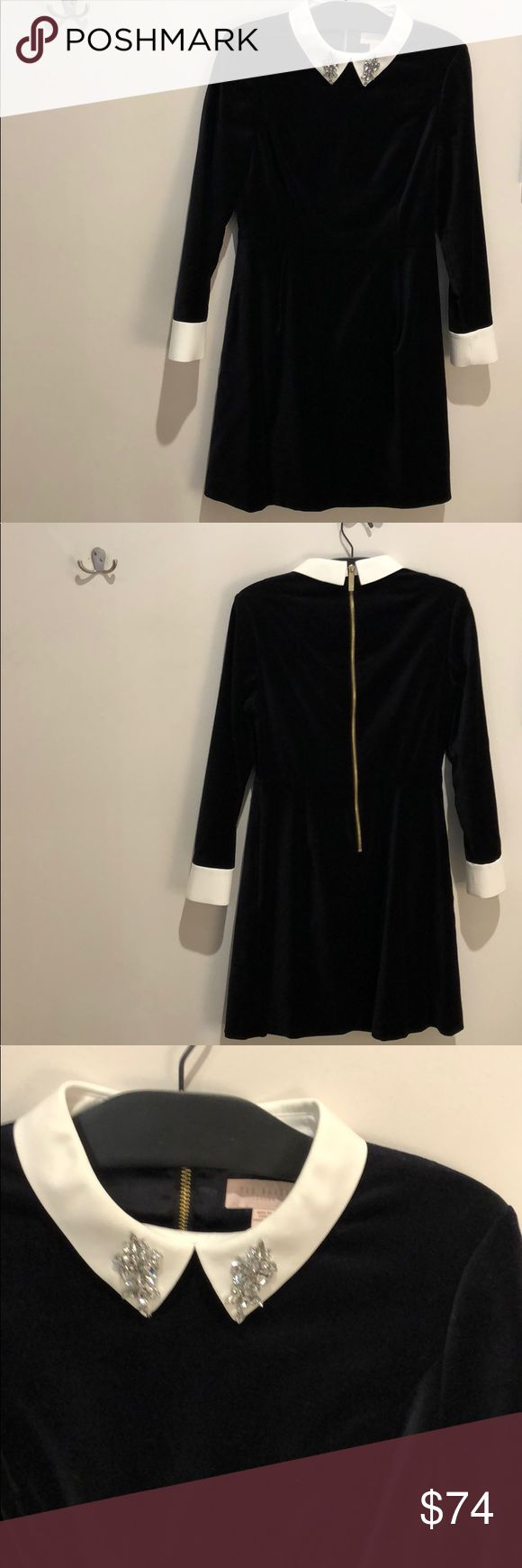 Velvet Ted Baker Dress Navy velvet long sleeve dress with white cuffs and collar. Silver jewel embellishment on collar. Exposed gold zipper at back. Fitted at top with slightly a-line skirt. Brand new with tags. Please see photo with size conversion! Ted Baker Dresses Long Sleeve