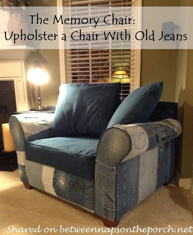 Repurpose Old Jeans to Upholster a Chair -- What a clever idea, and what a labor of love!