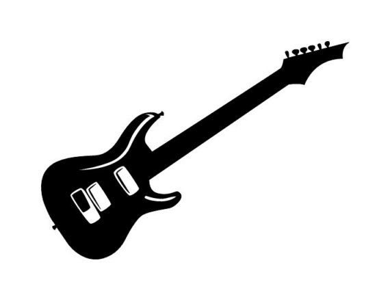 Electric guitar silhouette large wall decal