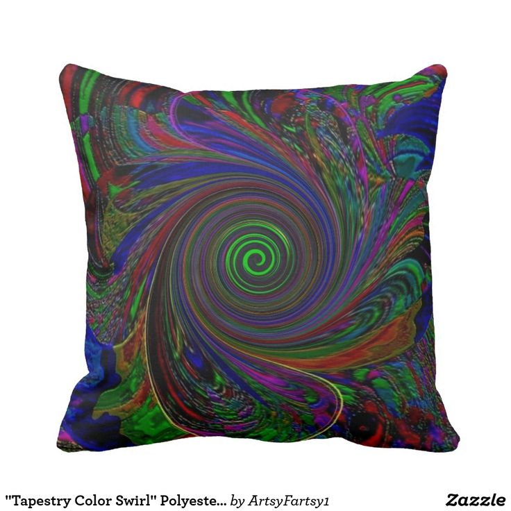 """Tapestry Color Swirl"" Polyester Throw Pillow"
