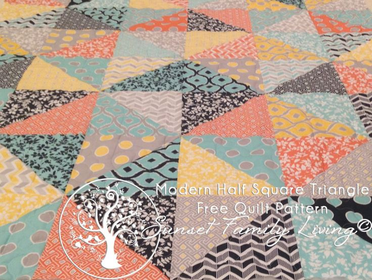 Modern Half-Square Triangle Quilt | Free Layer Cake Quilt Pattern – Sunset Family Living