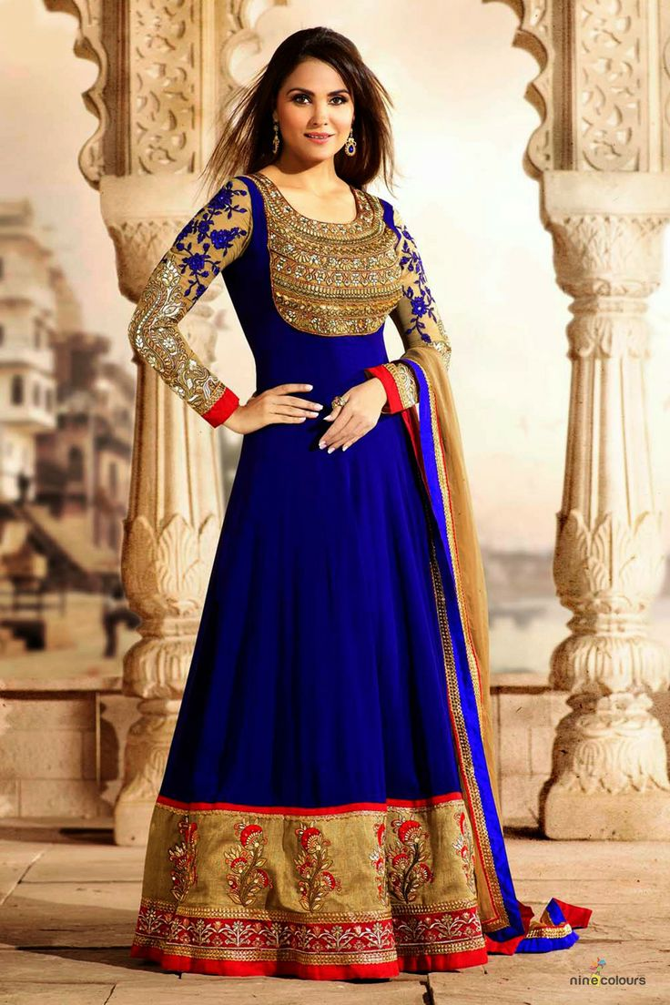 Lara dutta models striking desi anarkali in royal blue for Design wedding dress online