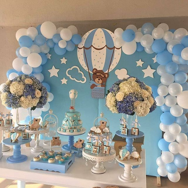 How Sweet Is This Bear Hot Air Balloon Theme Baby Shower