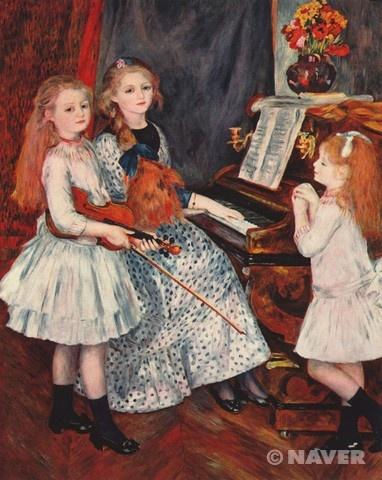 오귀스트 르누아르(Auguste Renoir), 피아노 곁에 있는 카튈 망데스의 딸들의 초상