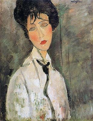Portrait of a Woman in a Black Tie, 1917, Amedeo Clemente Modigliani