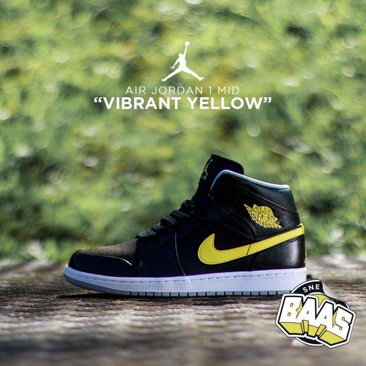 """Air Jordan 1 Mid """"Vibrant Yellow""""   Fresh from jordan!   www.sneakerbaas.nl   #Air #Jordan #Fresh #Baas"""