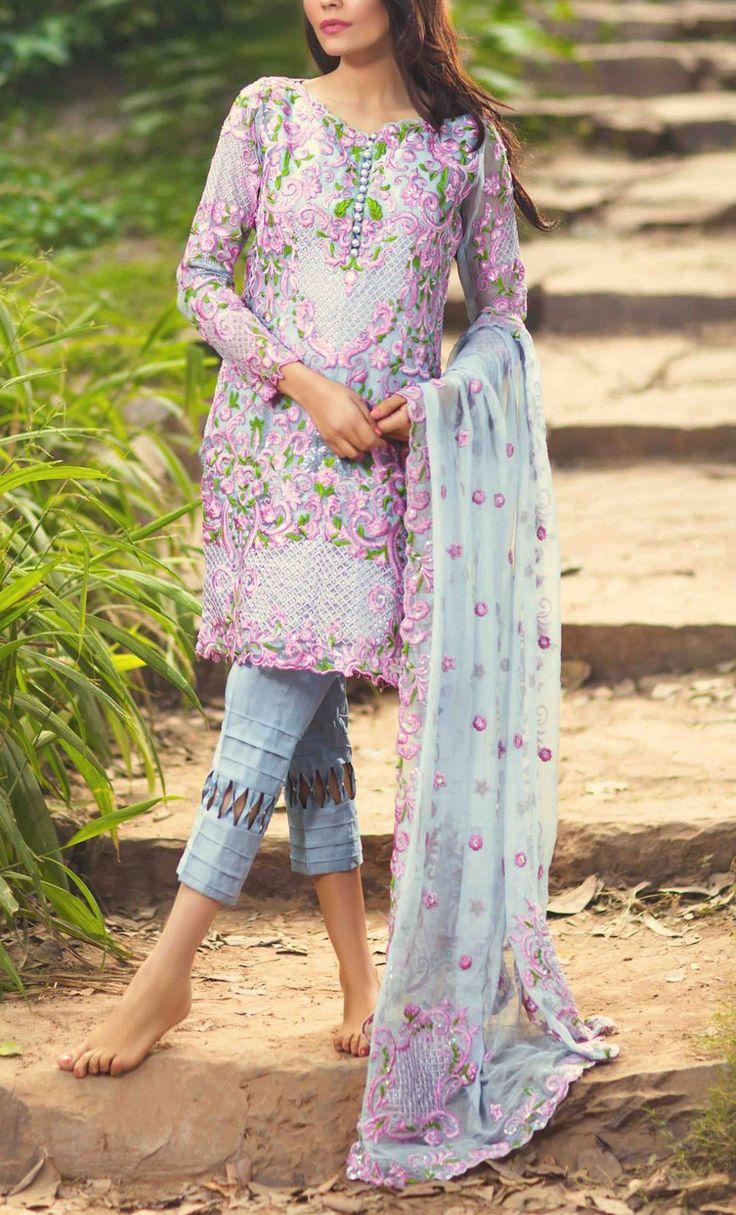 Buy Grey Embroidered Chiffon Salwar Kameez by Mina Hasan 2015