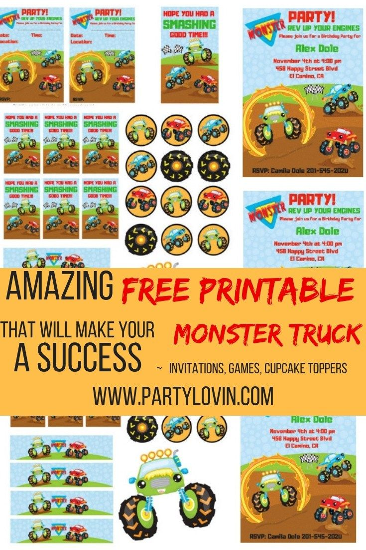 FREE Printables Monster Truck Birthday Party