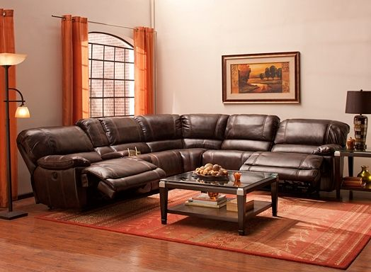 Dowling 6 Pc Sectional Sofa W 2 Power Recliners Apartment