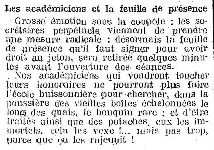 Mesures contre l'absentéisme sous la coupole, 1912