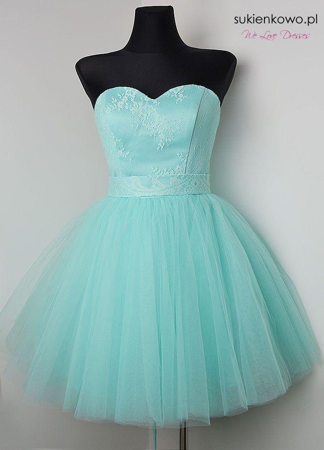 Rozkloszowana sukienka tiulowa miętowa BABYDOLL