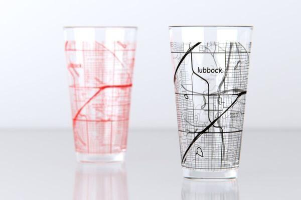 Lubbock, TX - Texas Tech - College Town Map Pint Glass Set